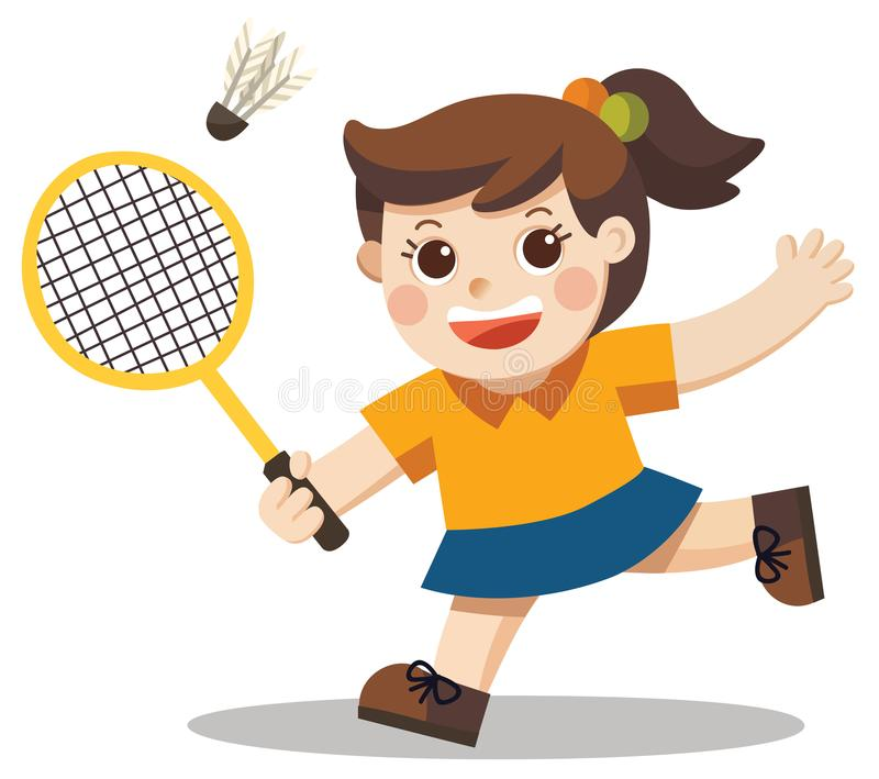 Игрок спорта Милая девушка играя бадминтон иллюстрация штока