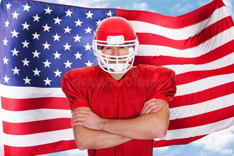 Игрок спортсмена американского футбола стоковая фотография