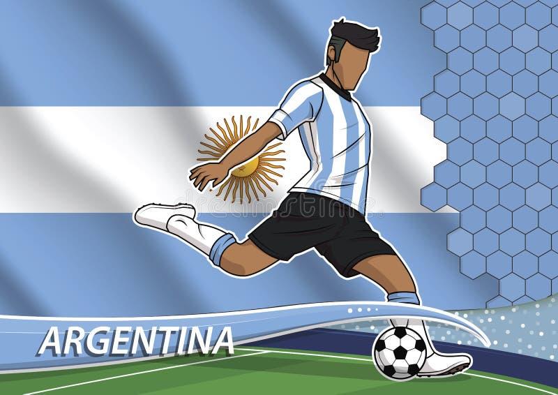Игрок футбольной команды в равномерной Аргентине иллюстрация вектора