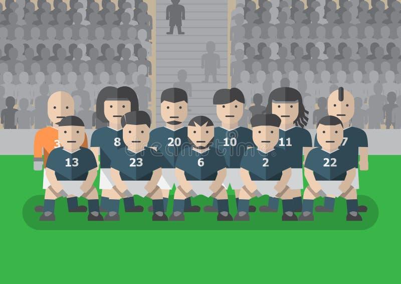 Игрок футбольной команды в равномерном плоском графике иллюстрация штока