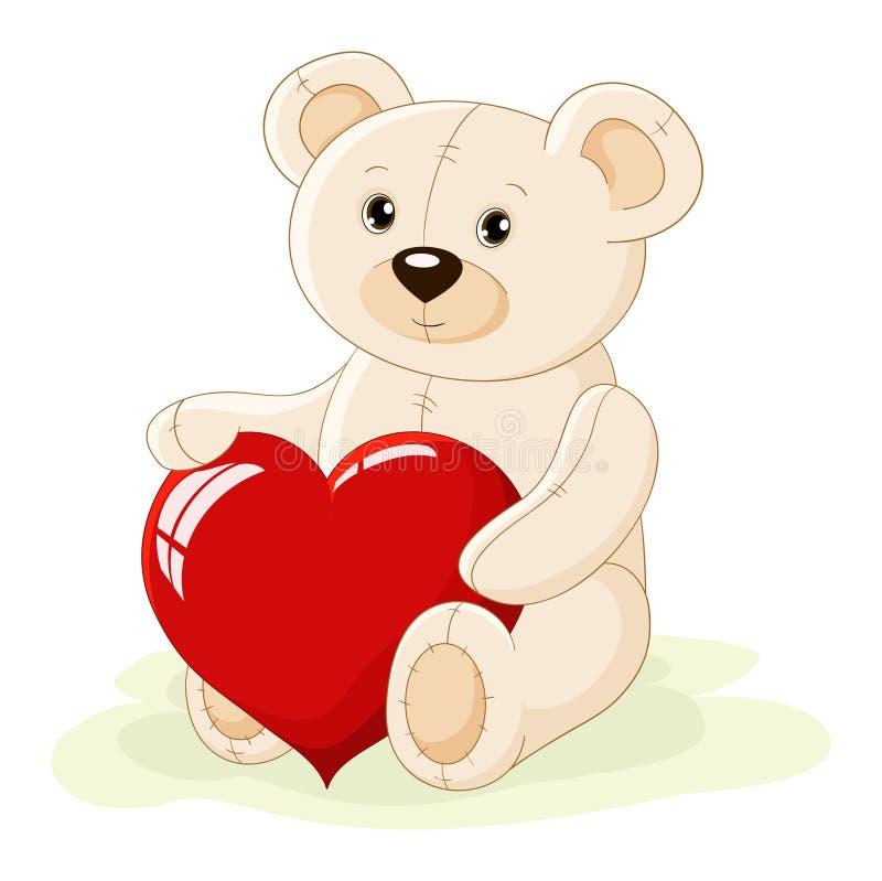 игрушечный красного цвета сердца медведя иллюстрация вектора