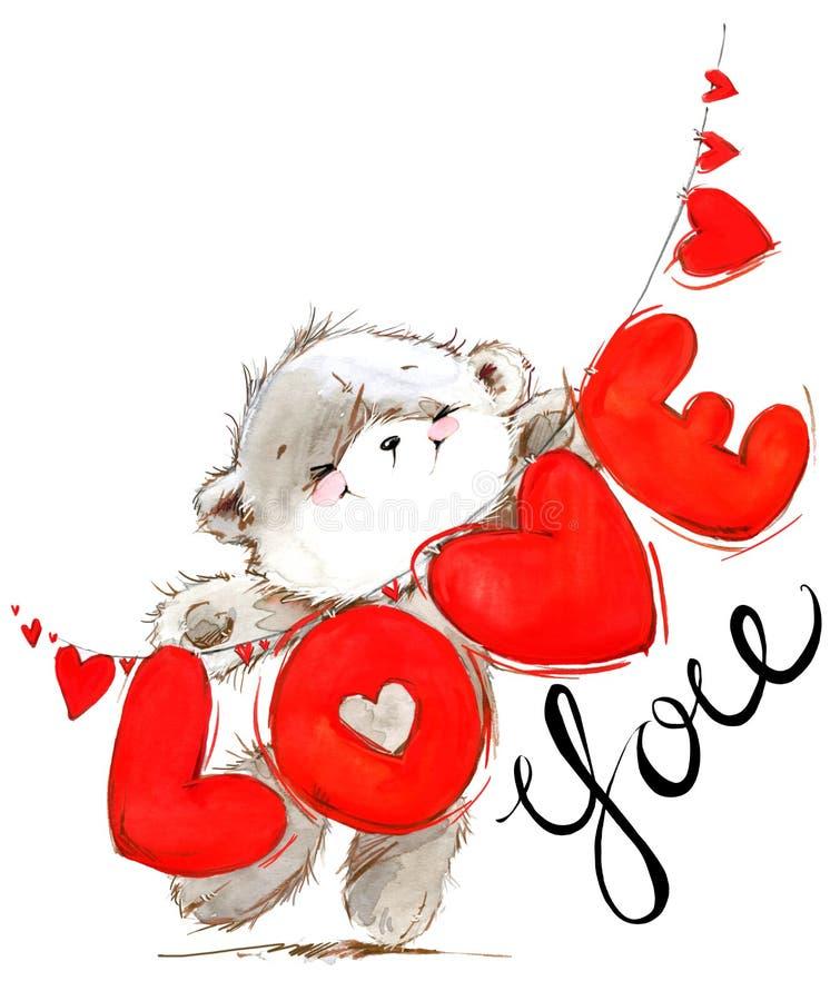 игрушечный медведя милый влюбленность карточки вы Предпосылка акварели дня валентинок иллюстрация штока