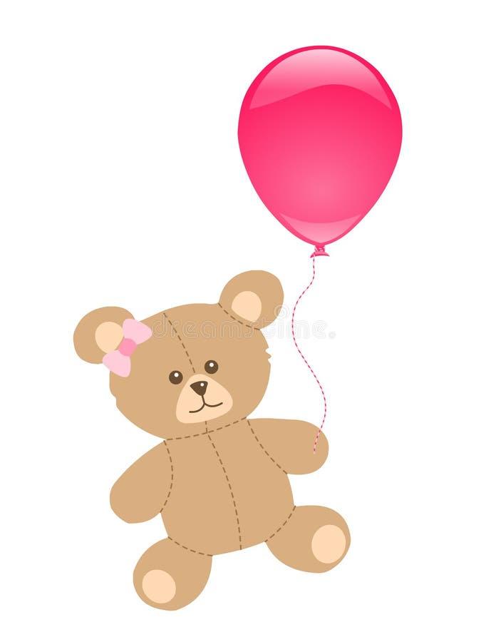 игрушечный пинка медведя воздушного шара иллюстрация вектора