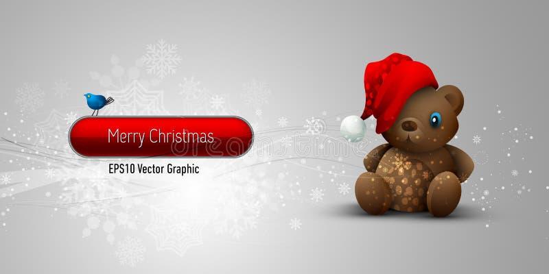 игрушечный рождества медведя знамени иллюстрация вектора