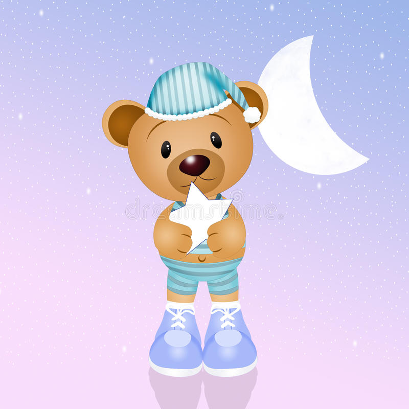 Игрушечный с звездой в ноче иллюстрация штока