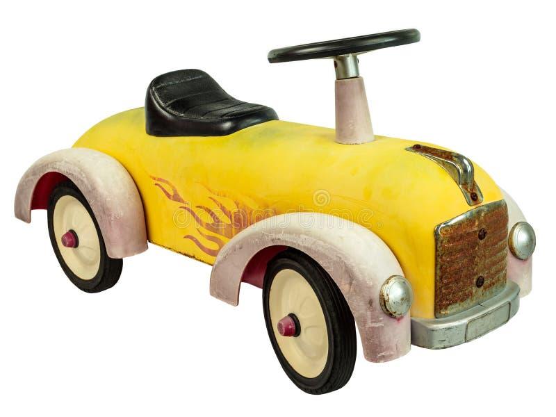 Игрушка автомобиля нажима год сбора винограда изолированная на белизне стоковые изображения rf