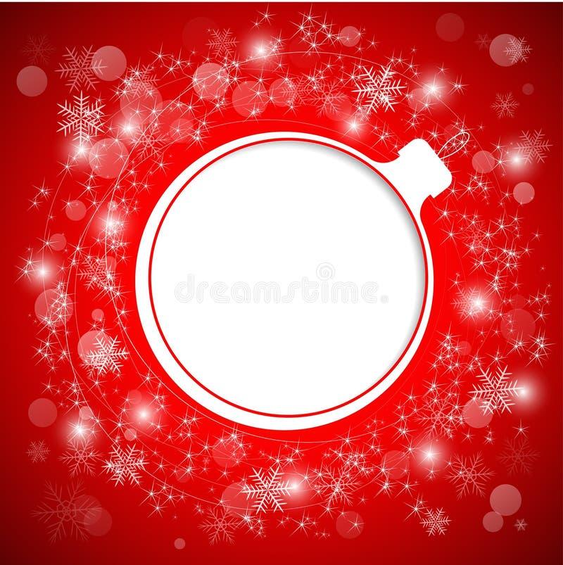 Игрушка дерева как рамка для текста Приветствия Нового Года и рождества иллюстрация вектора