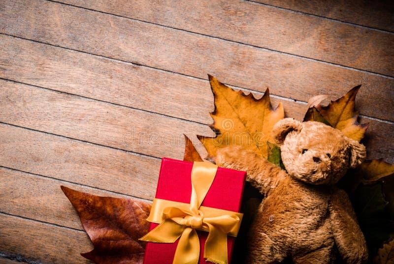 Игрушка и подарочная коробка плюшевого медвежонка с кленовыми листами стоковое изображение