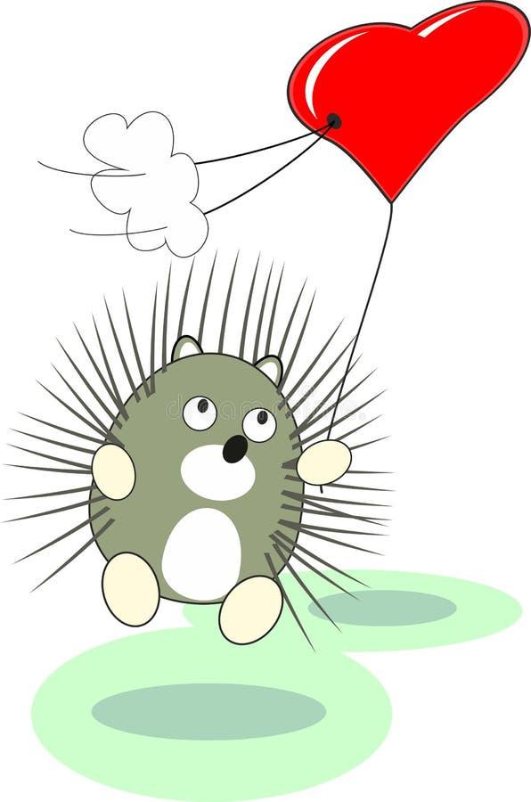 игрушка красного цвета hedgehog сердца шаржа воздушного шара младенца стоковое фото