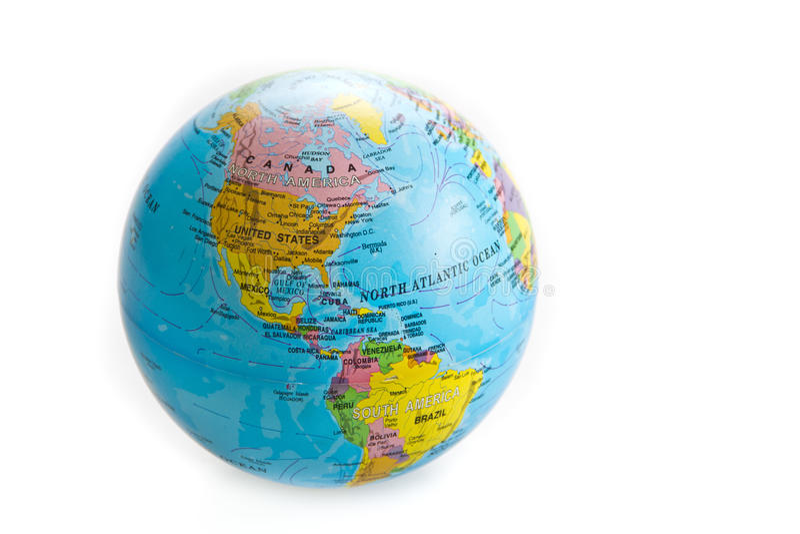 Игрушка мира глобуса изолированная на белой предпосылке стоковое фото rf