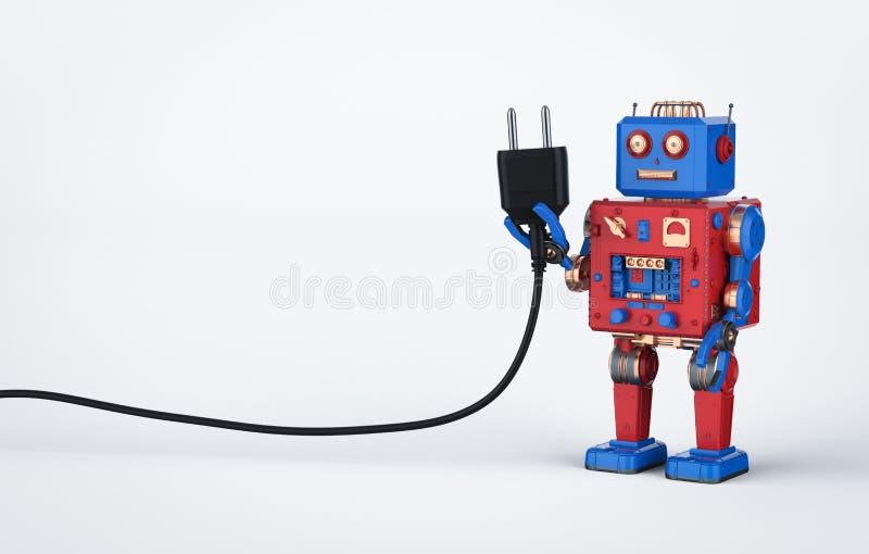 Игрушка олова робота со штепсельной вилкой иллюстрация штока