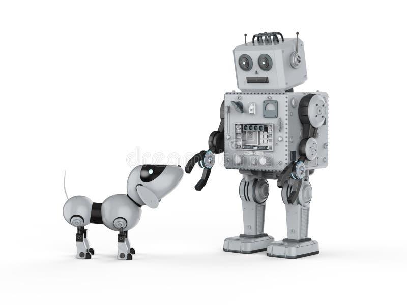 Игрушка олова робота с собакой иллюстрация вектора