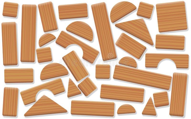 Игрушка преграждает деревянные свободно аранжированные детали здания иллюстрация штока