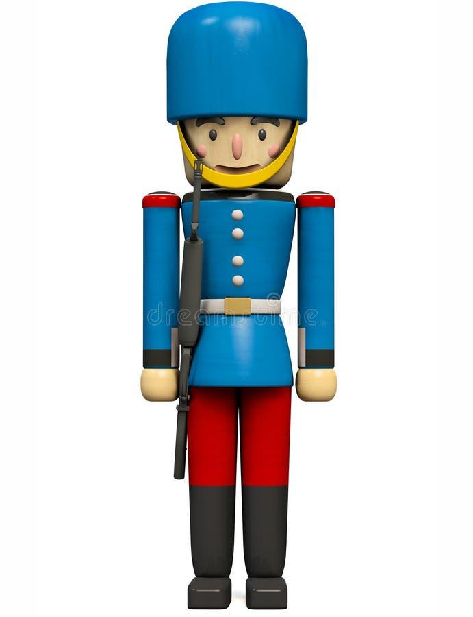Игрушка солдата в голубой и красной форме иллюстрация вектора