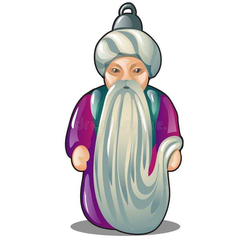 Игрушка шкентеля или рождественской елки в форме старика в тюрбане изолированном на белой предпосылке Конец мультфильма вектора иллюстрация штока