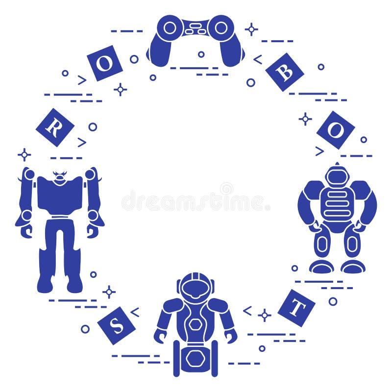 Игрушки для детей: роботы, дистанционное управление, кубы иллюстрация вектора