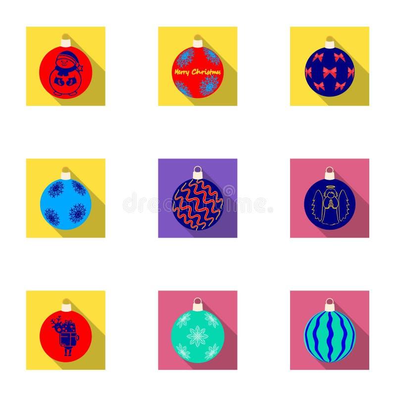 Игрушки для значков рождественской елки плоских в собрании комплекта для дизайна Иллюстрация сети запаса символа ballsvector Ново иллюстрация штока
