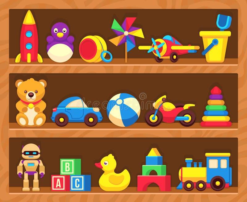 Игрушки детей на деревянных полках магазина иллюстрация вектора