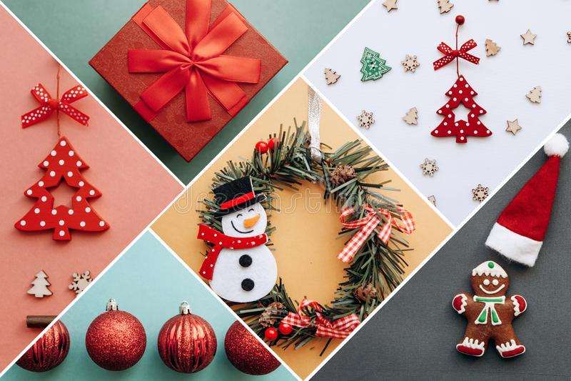 Игрушки и вещи рождества творческой идеи различные на пестротканых предпосылках стоковое изображение