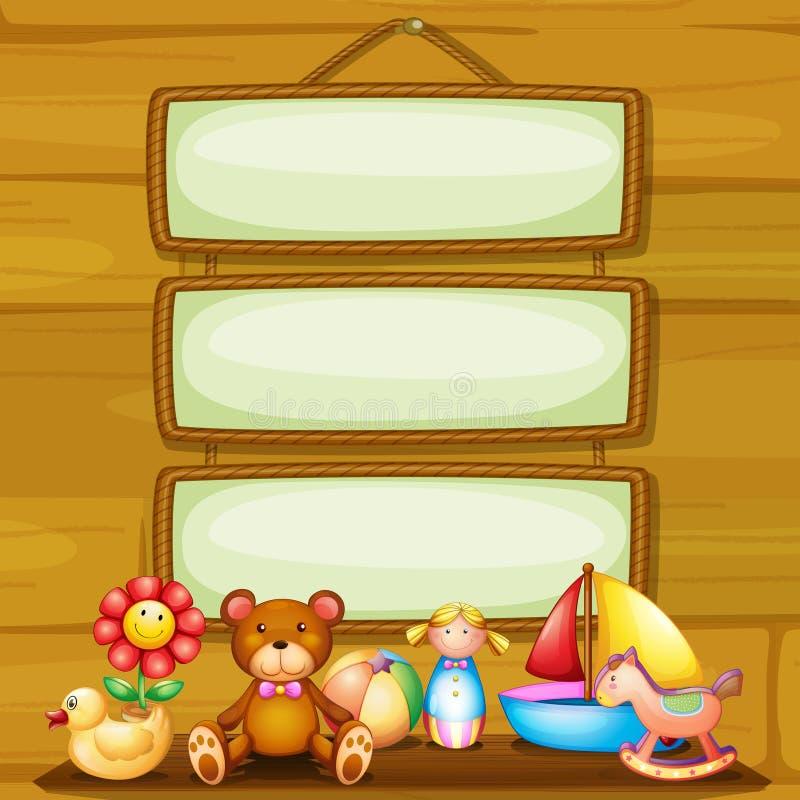 Игрушки перед пустыми обрамленными шильдиками бесплатная иллюстрация