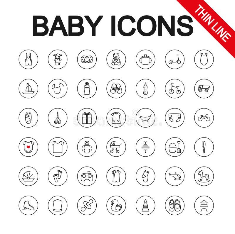 Игрушки, подавать и забота младенца универсалия иллюстрации икон конструкции вы вектор Editable тонкая линия иллюстрация штока