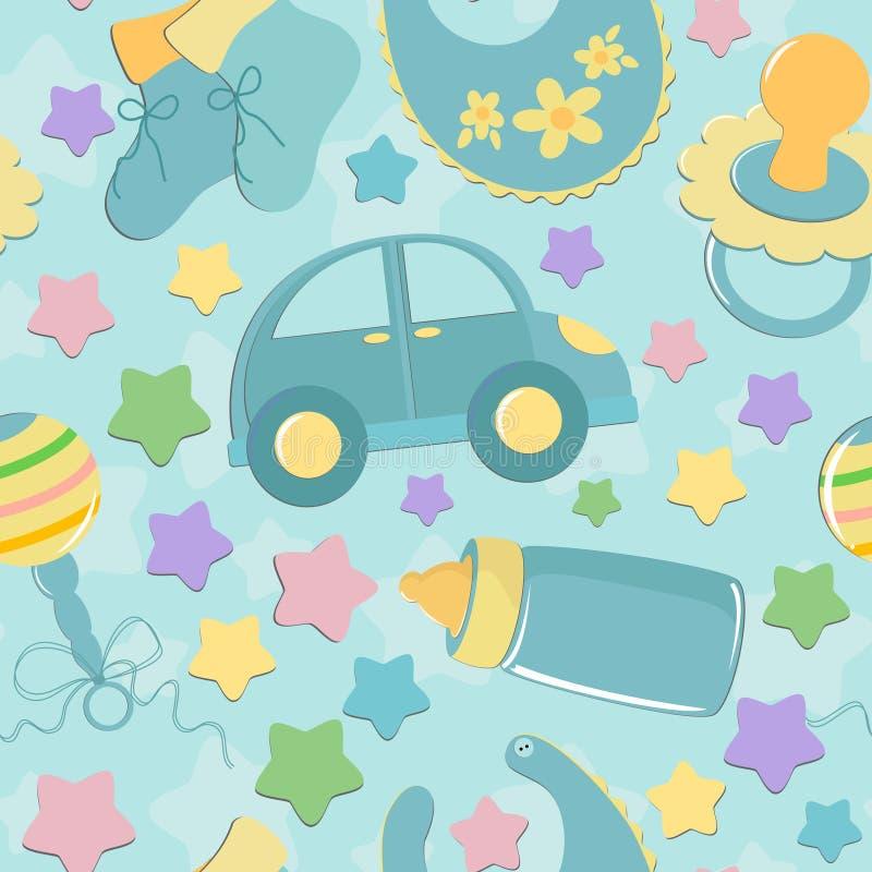 игрушки предпосылки s младенца безшовные иллюстрация штока