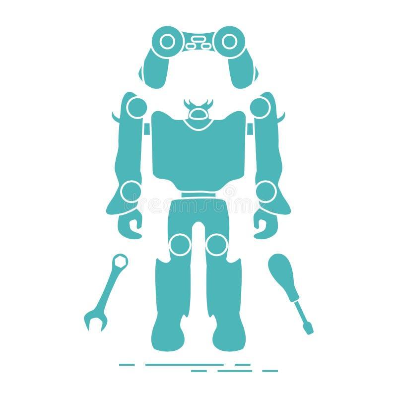 Игрушки: робот, консоль, гаечный ключ, отвертка иллюстрация вектора