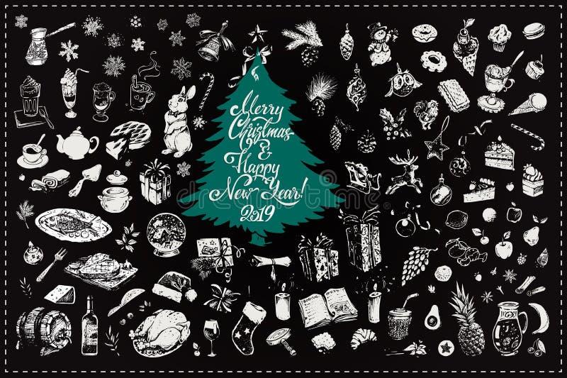 Игрушки рождества вручают вычерченный набор значков вектора бесплатная иллюстрация