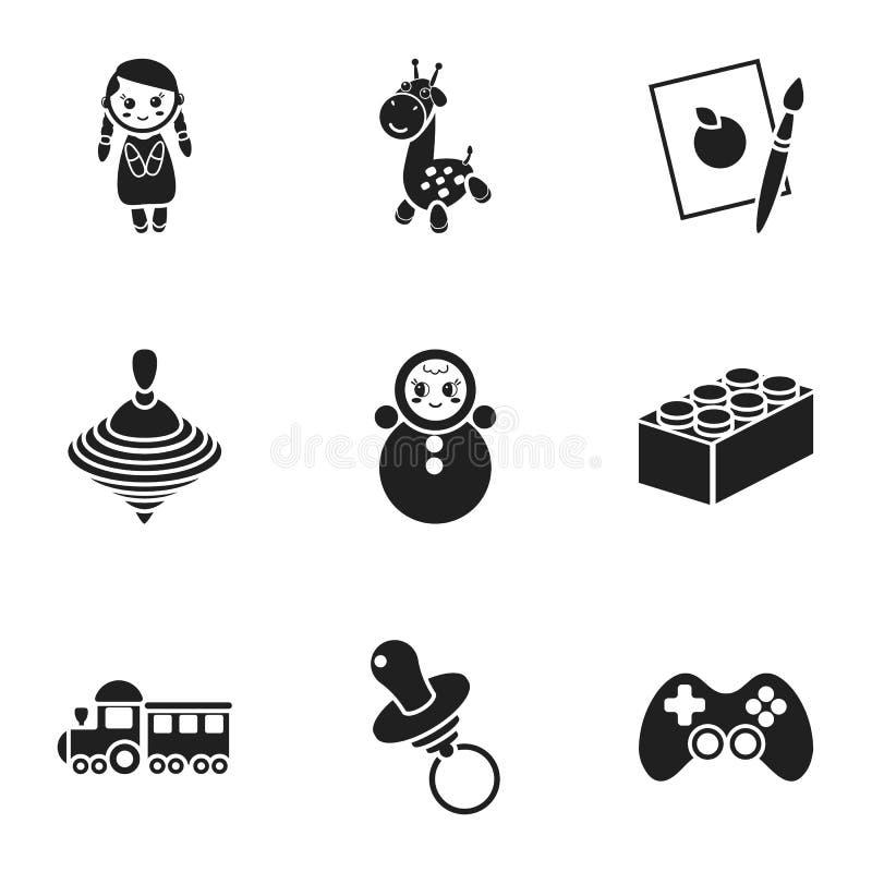Игрушки установили значки в черном стиле Большое собрание игрушек vector иллюстрация запаса символа иллюстрация штока