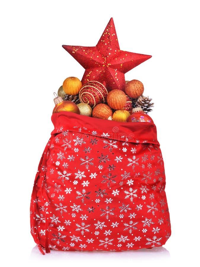 игрушки claus красные santa рождества мешка стоковое фото