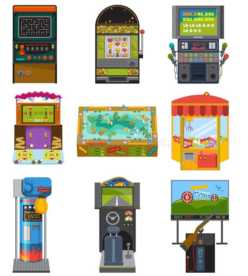 Игры азартной игры аркады игрового автомата охотясь удящ бокс и танцующ где игра картежника или gamer в aming компьютере бесплатная иллюстрация