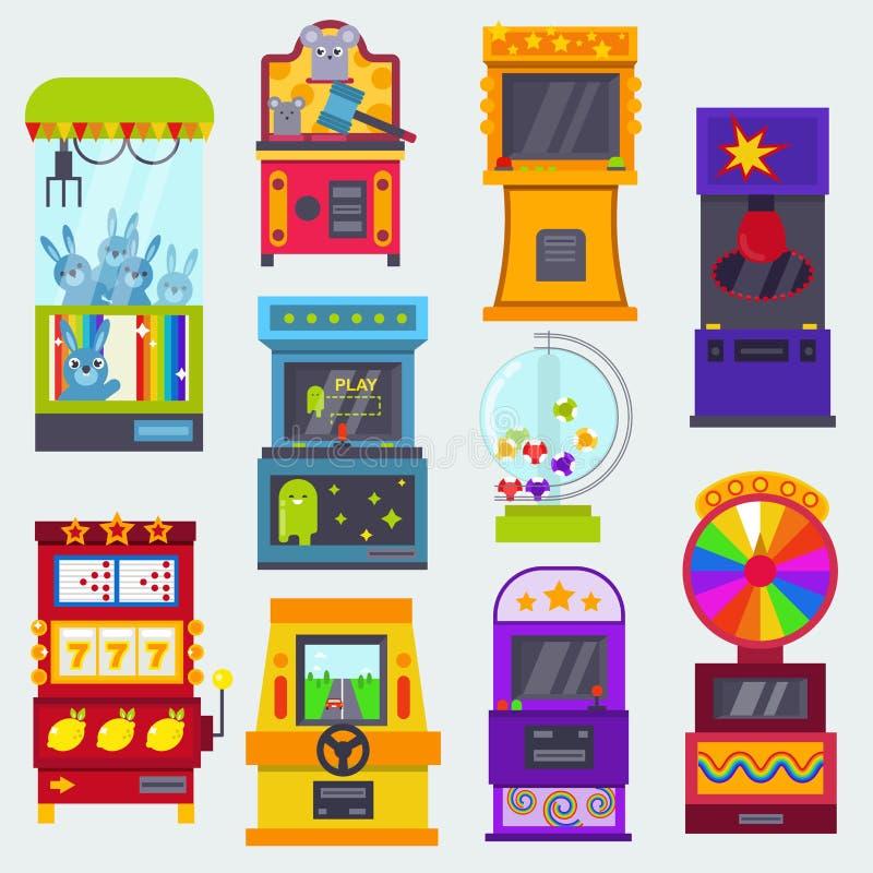 Игры аркады вектора игрового автомата играя в азартные игры в казино где gamesome картежник или gamer держали пари в машинном обо бесплатная иллюстрация