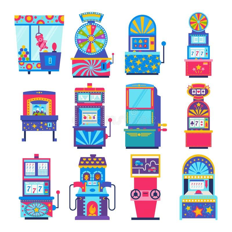 Игры аркады вектора игрового автомата играя в азартные игры в казино иллюстрация штока