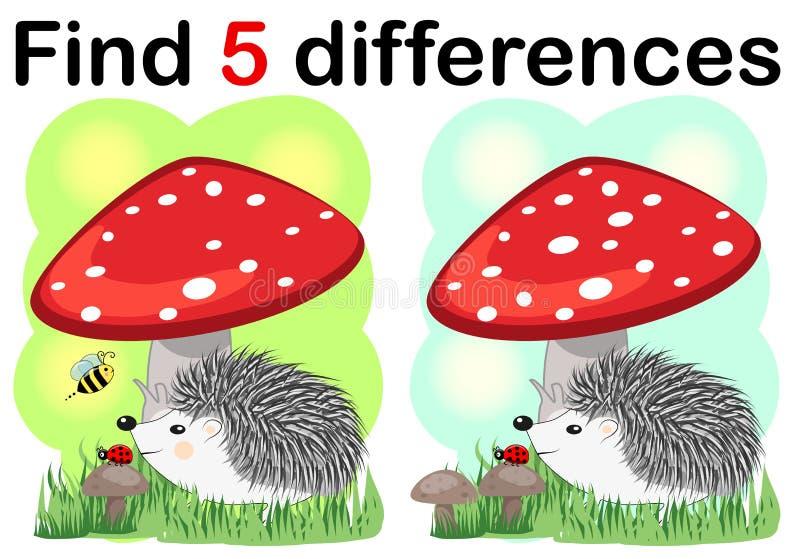 Игры детей: Разницы в находки Немногое милый еж с грибами иллюстрация штока