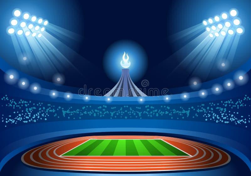 Игры лета предпосылки стадиона опорожняют взгляд предпосылки поля ночной бесплатная иллюстрация