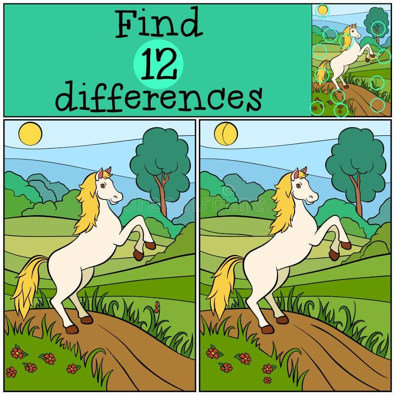 Игры детей: Разницы в находки милая лошадь иллюстрация штока