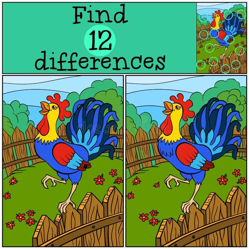 Игры детей: Разницы в находки Милый красивый петух иллюстрация штока