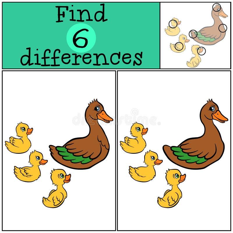 Игры детей: Разницы в находки утята 3 утки бесплатная иллюстрация