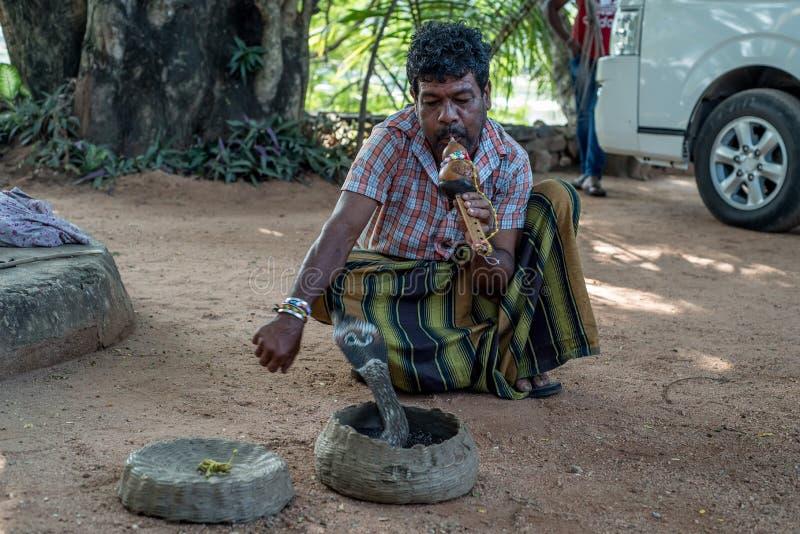 Игры заклинателя змей с индийской коброй стоковая фотография