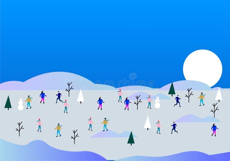 Игры зимы, люди плоско, иллюстрация вектора иллюстрация штока