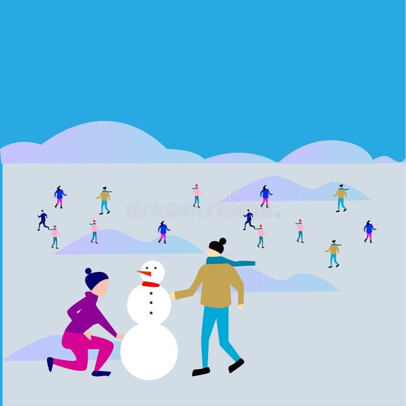 Игры зимы, люди плоско, иллюстрация вектора иллюстрация вектора