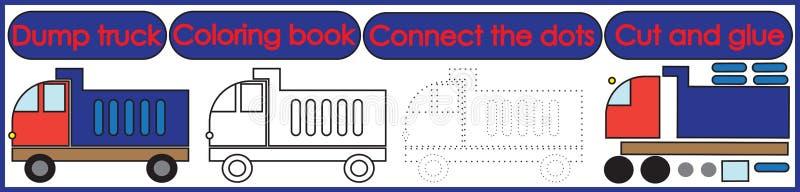 Игры на дети 3 в 1 Книжка-раскраска, соединяет точки, отрезок иллюстрация штока