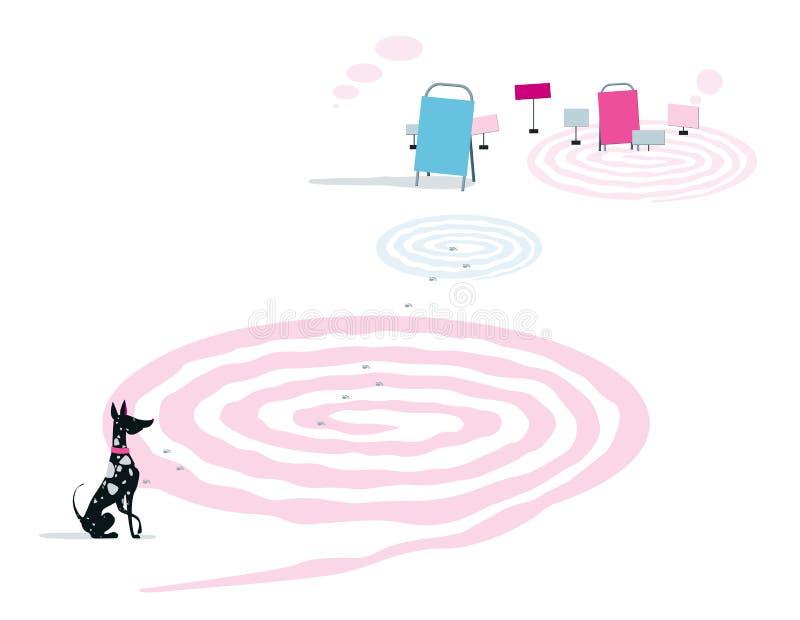 Игры разума Собака мраморных цветов сидит около лабиринта r иллюстрация штока