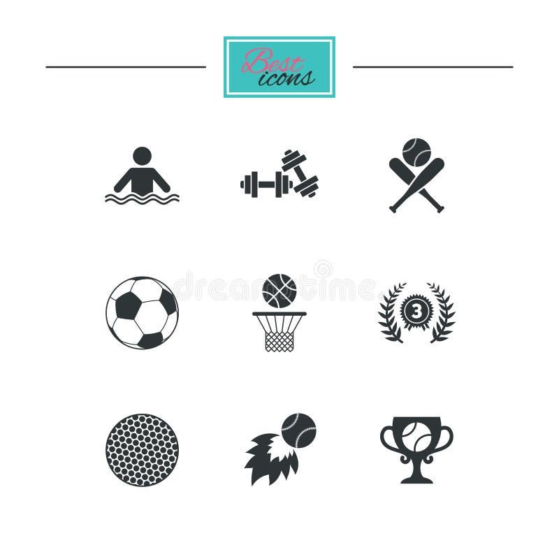 Download Игры спорта, значок фитнеса Футбол, баскетбол Иллюстрация вектора - иллюстрации насчитывающей футбол, гольф: 81805969