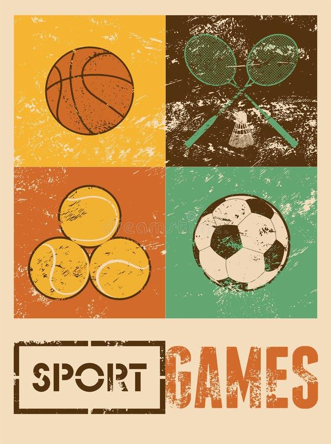 Игры спорта Типографский ретро плакат grunge Баскетбол, бадминтон, футбол, теннис также вектор иллюстрации притяжки corel иллюстрация штока