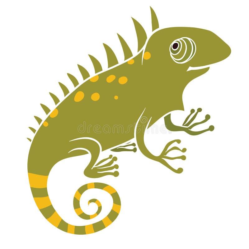 Игуана на белой предпосылке иллюстрация штока
