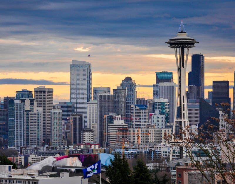 Игла космоса Сиэтл и городские здания стоковое изображение rf