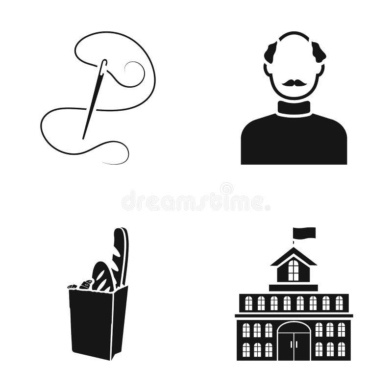 Игла с потоком, экстерьером человека и другим значком сети в черном стиле сумка хлеба, значков здания в комплекте иллюстрация штока