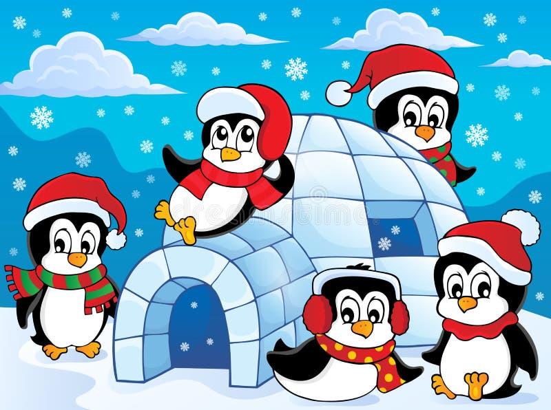 Иглу с темой 2 пингвинов бесплатная иллюстрация