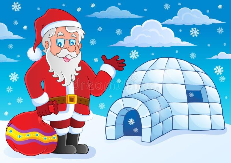 Иглу с темой 4 Санта Клауса иллюстрация вектора